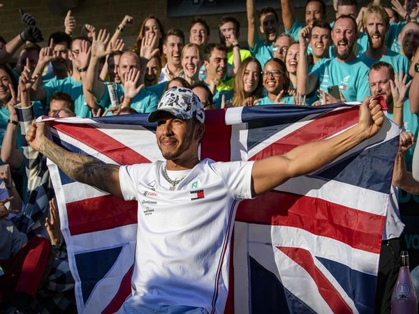 Mercedes AMG Petronas Motorsport driver Lewis Hamilton (44) of Great Britain celebrates winning his sixth world championship after the United States Grand Prix at Circuit of the Americas.