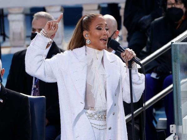 Musician Jennifer Lopez performing at Joe Biden's Inauguration