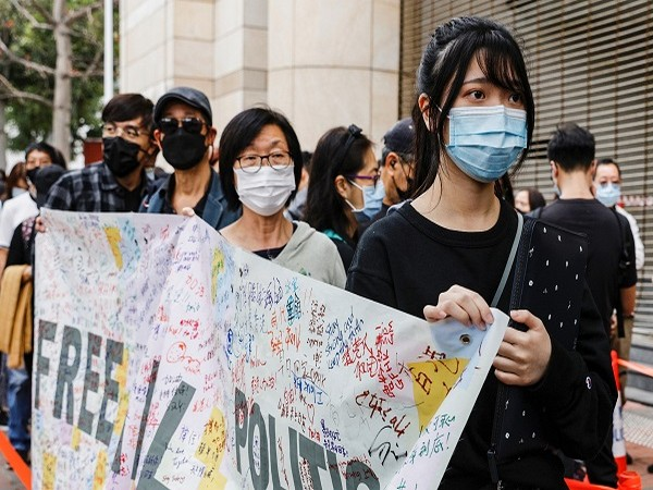 Hong Kong pro-democracy activists protesting against the national security law. (Credit: Reuters)