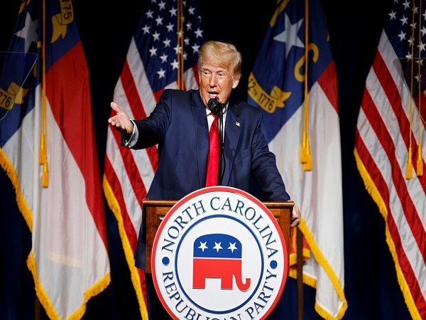 Former US President Donald Trump speaking at the North Carolina Republican Convention (Credit: Reuters Pictures)