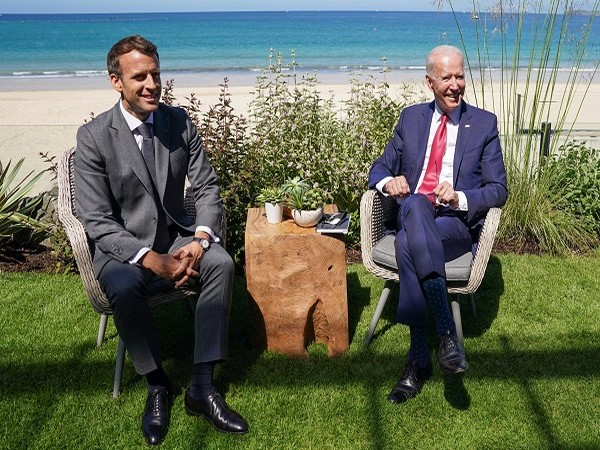 US President Joe Biden and his French counterpart Emmanuel Macron (Credit: Reuters)