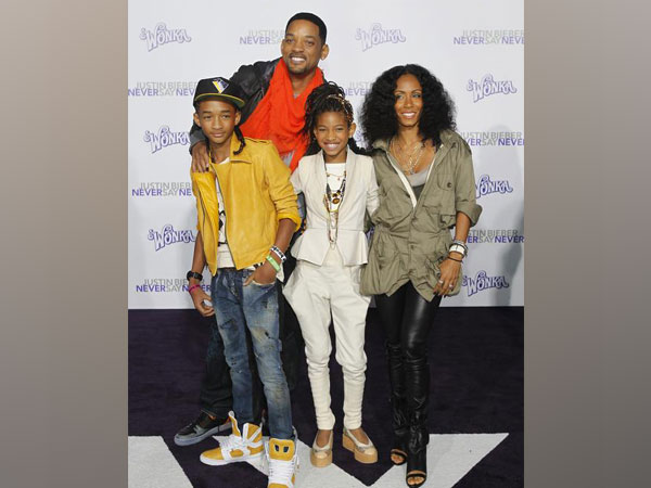 Actor Will Smith poses with his wife Jada Pinkett Smith, son Jaden and daughter Willow