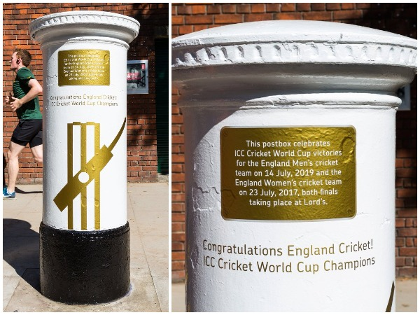 White and gold postbox outside the Lord's (Photo/Royal Mail Twitter)