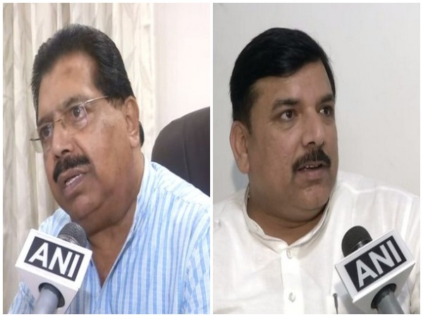 Congress leader PC Chacko and AAP leader Sanjay Singh talking to ANI in New Delhi on Monday. Photo/ANI