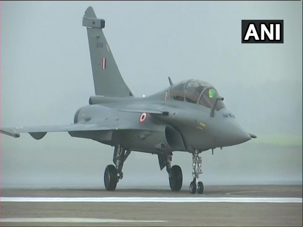 Rafale aircraft being given water cannon salute at IAF base in Ambala, Haryana on Thursday. Photo/ANI