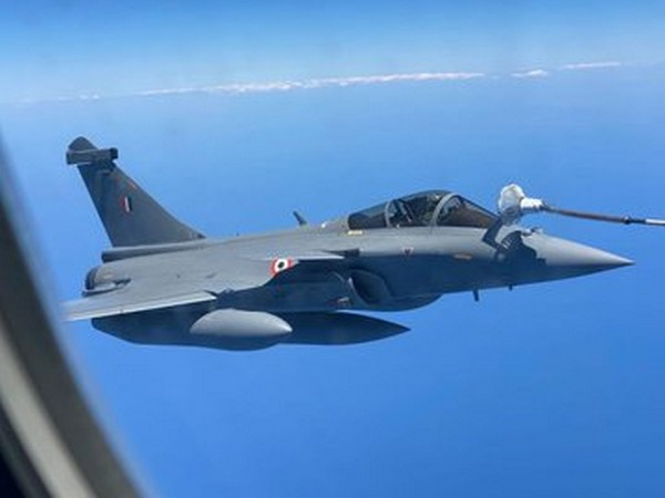 Rafale fighter jets were refuelled mid-air on their way to Ambala from France. (Picture tweeted by IAF)