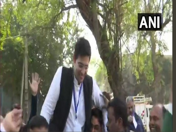 Raghav Chadha on Tuesday with party workers.