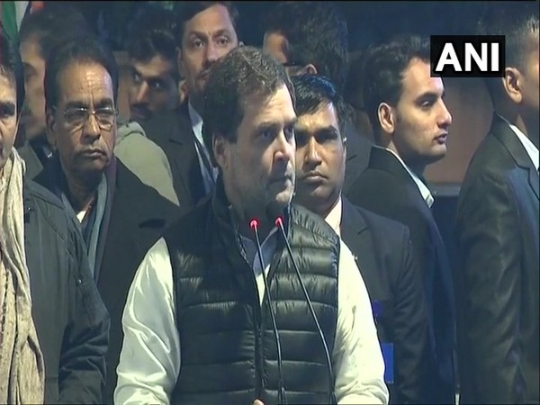 Congress MP Rahul Gandhi speaking at Rajghat, New Delhi on Monday. Photo/ANI