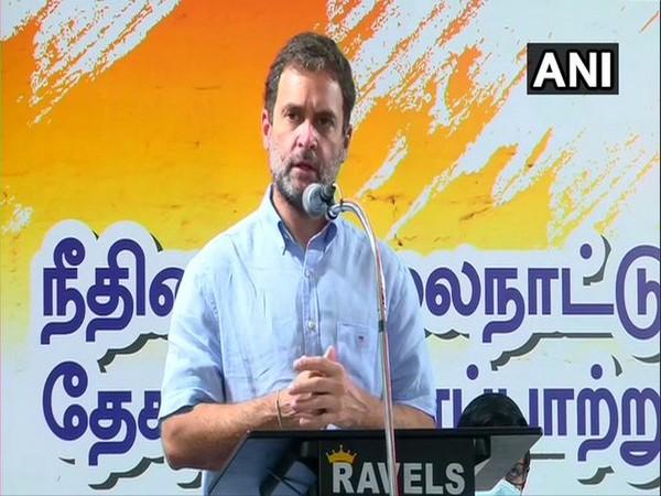 Congress leader Rahul Gandhi speaking in Thoothukudi, Tamil Nadu on Saturday.