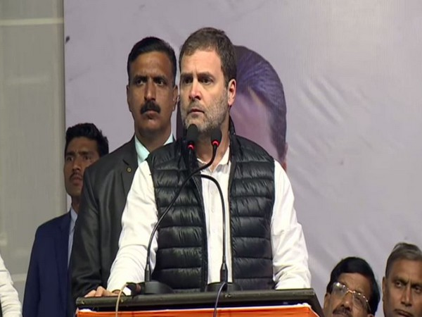 Congress leader Rahul Gandhi speaking at a public meeting in New Delhi on Tuesday. Photo/ANI