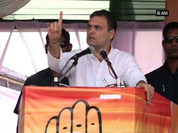 Congress leader Rahul Gandhi addressing an election rally in Latur, Maharashtra, on Sunday. Photo/ANI