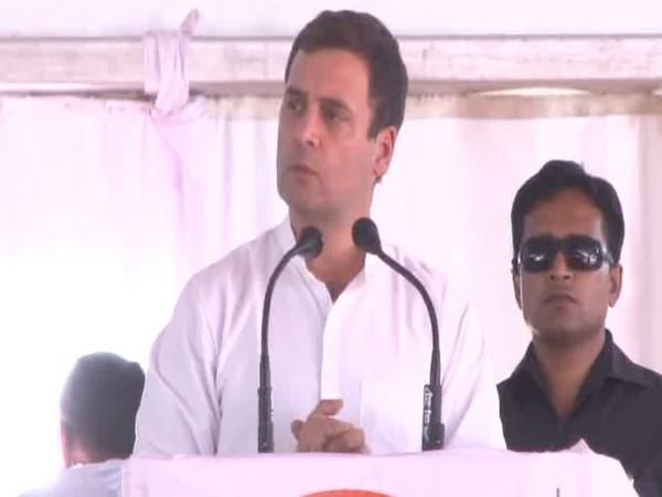 Congress president Rahul Gandhi addressing a public rally in Maharashtra's Dhule on Friday. Photo/ANI