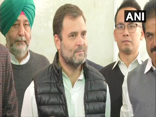 Congress leader Rahul Gandhi speaking to reporters in New Delhi on Monday. Photo/ANI
