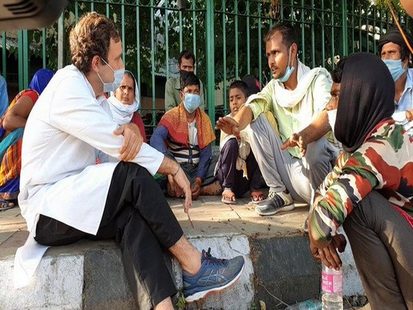 Rahul Gandhi interacts with migrant labourers
