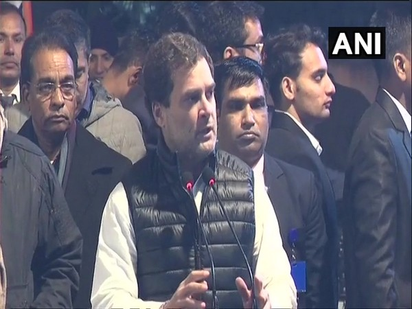 Congressleader Rahul Gandhi addressing the gathering at Rajghat, New Delhi on Monday. Photo/ANI