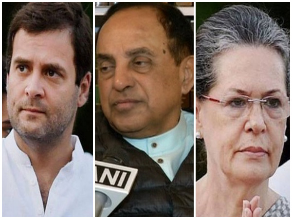 Congress president Rahul Gandhi (left), BJP leader Subramanian Swamy (centre), UPA chairperson Sonia Gandhi (right)