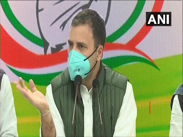 Congress leader Rahul Gandhi speaking at a press conference on Tuesday. (Photo/ANI)