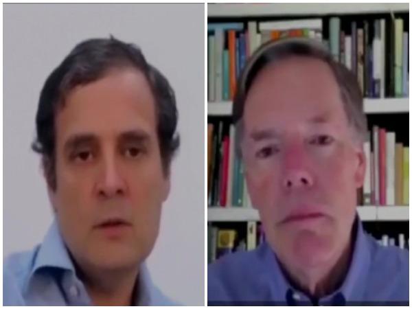 Former US Diplomat Nicholas Burns and Congress leader Rahul Gandhi during a video interaction.