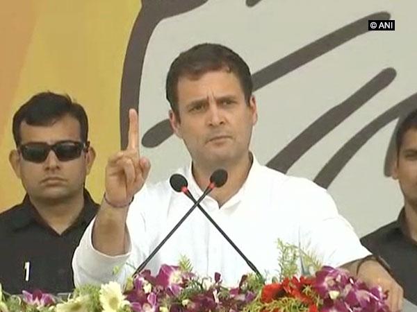 Congress president Rahul Gandhi addressing a public rally in Odisha's Koraput on Friday.