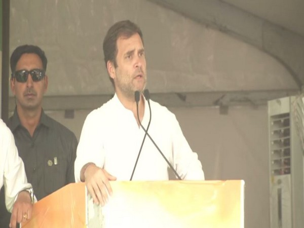 Congress president Rahul Gandhi while addressing an election rally at Ludhiana in Punjab on Wednesday. Photo/ANI