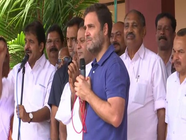 Congress MP from Wayanad, Rahul Gandhi addressed people during his visit in a local school in Wayanad in Kerala on Thursday. Photo/ANI
