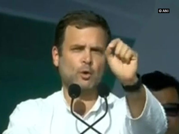 Congress president Rahul Gandhi addressing a public rally in Ahmedabad on Tuesday. Photo/ANI