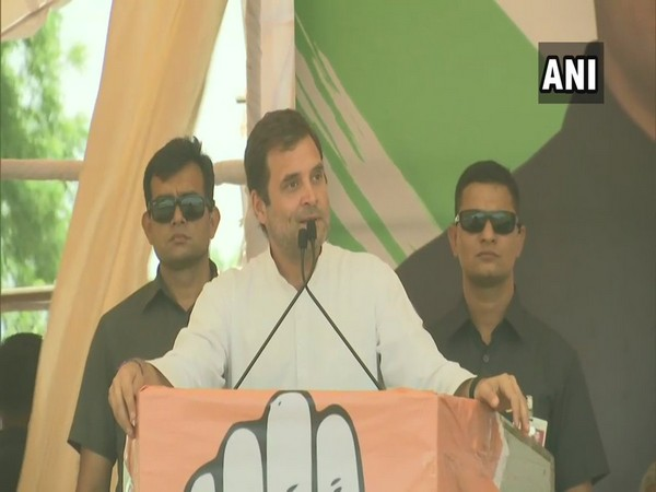Congress president Rahul Gandhi addressing a public rally in Neemuch on Tuesday.