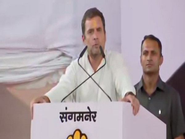 Congress president Rahul Gandhi while addressing an election rally in Ahmednagar on Friday. Photo/ANI