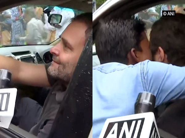 Rahul Gandhi was kissed by a supporter while interacting with media persons on Wednesday in Wayanad. Photo/ANI