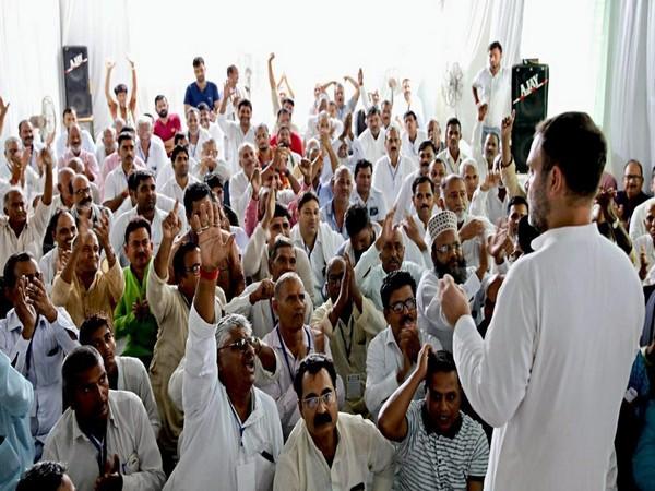 Congress leader Rahul Gandhi addresses during his visit at Gauriganj in Amethi on Wednesday. (ANI Photo)