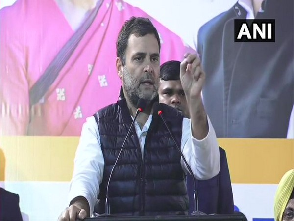 Congress leader while addressing a rally in Hauz Qazi on Wednesday. Photo/ANI