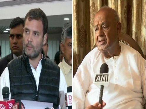 Congress President Rahul Gandhi (L), former Prime Minister and JDS leader HD Deve Gowda.