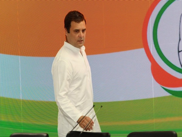 Congress president Rahul Gandhi arrives to address a press conference at AICC headquarters in New Delhi on May 23. (ANI)
