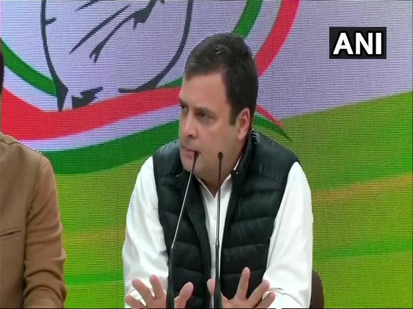 Congress president Rahul Gandhi addressing a press conference in Delhi on Thursday.