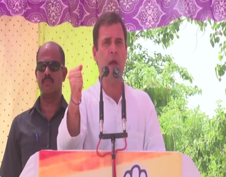 Congress president Rahul Gandhi addressing an election rally in Sultanpur on Saturday