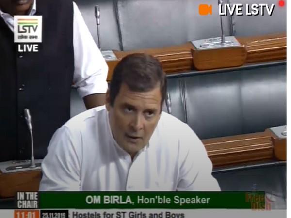 Congress leader Rahul Gandhi speaking in Lok Sabha on Monday. (Photo Credits: LSTV)