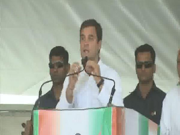 Congress president Rahul Gandhi addressing an election rally in Shujalpur on Saturday. Photo/ANI