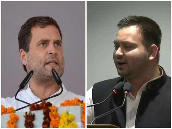 Congress president Rahul Gandhi and RJD leader Tejashwi Yadav