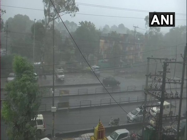 Heavy downpour left several junctions and roads waterlogged in Bhopal, Madhya Pradesh on Saturday. (Photo/ANI)