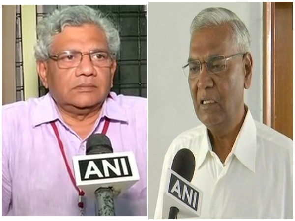 CPI-M General Secretary Sitaram Yechury (r) and CPI General Secretary D Raja