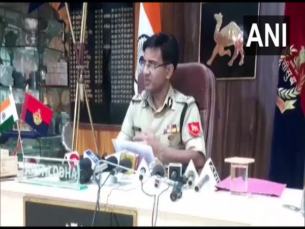 BSF Inspector General Amit Lodha speaking to reporters in Jodhpur on Wednesday.