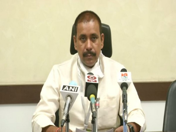 Uttar Pradesh Cabinet Minister Anil Rajbhar addresses a press conference in Lucknow on Monday. Photo/ANI