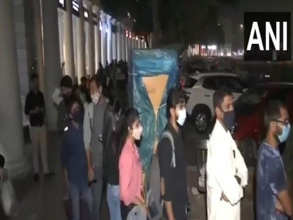 Long queue of passengers seen outside Rajiv Chowk Metro Station on Sunday.