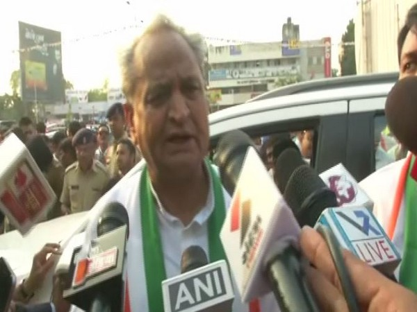 Rajasthan Chief Minister Ashok Gehlot speaking to reporters in Ahmedabad on Saturday. Photo/ANI