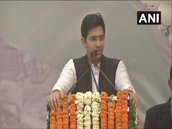 Raghav Chadha speaking at the AAP office in New Delhi on Tuesday.