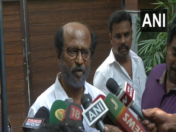 Veteran actor Rajinikanth speaking to reporters in Chennai on Friday.