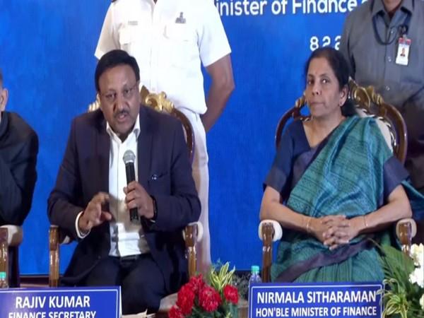 Finance Minister Nirmala Sitharaman along with Finance Secretary Rajiv Kumar, left, speaking at a press conference in Chennai on Saturday. Photo/ANI