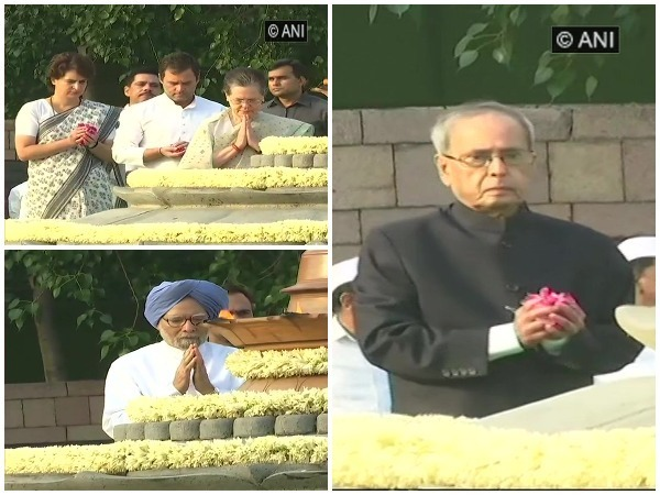 Top Congress leaders paying their respects to former prime minister Rajiv Gandhi at Veer Bhumi in New Delhi on Tuesday.