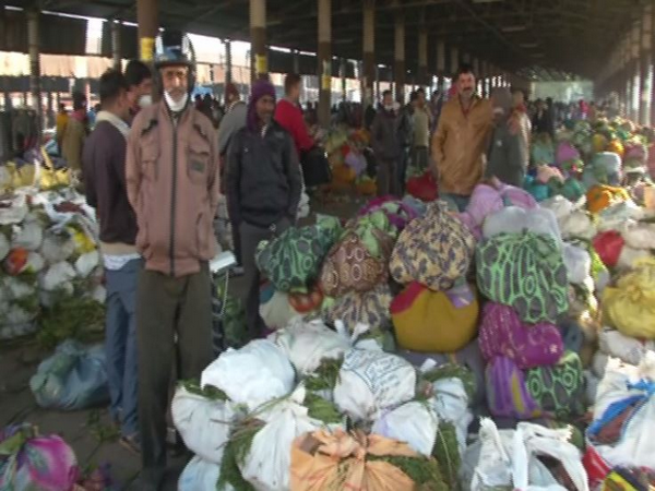 Farmers face problems as they are unable to sell their products due to the night curfew in Rajkot (Photo ANI)