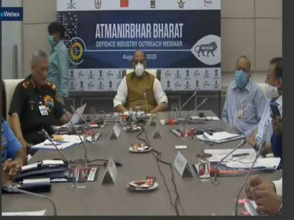 Defence Minister Rajnath Singh and CDS General Bipin Rawat at the webinar on Thursday. Photo/ANI